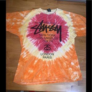 Stussy T-shirt Tie-Dye large tour shirt